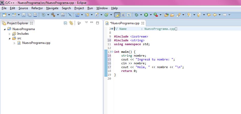 Eclipse pantalla de proyecto