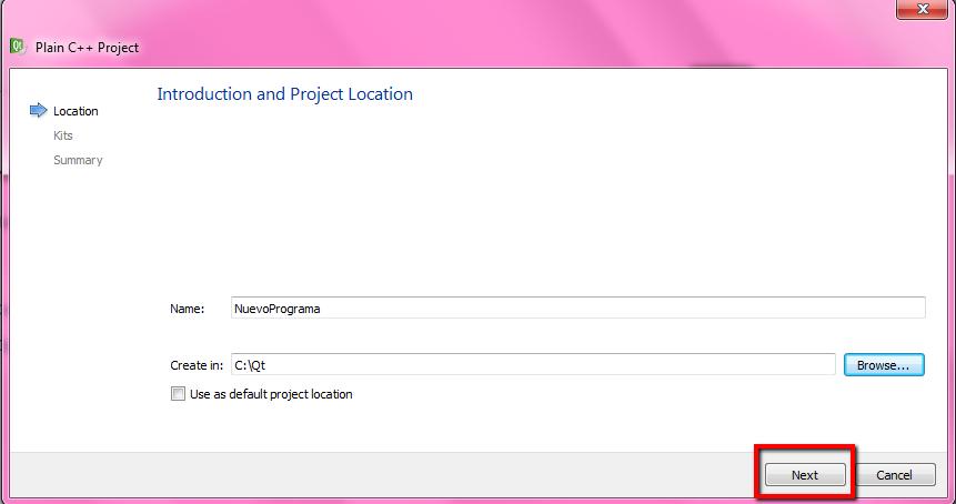 QT Creator pantalla de nombre de proyecto
