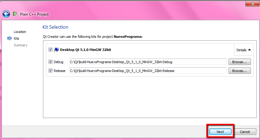QT Creator pantalla de selección de kit de desarrollo