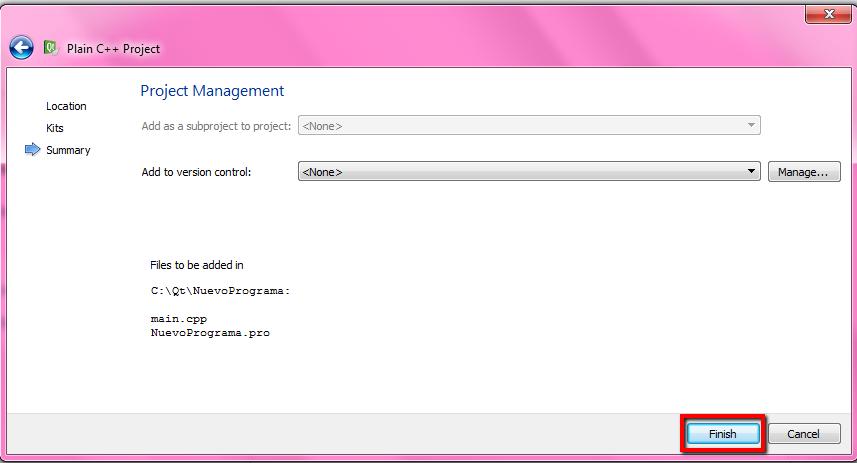 QT Creator pantalla de control de versiones