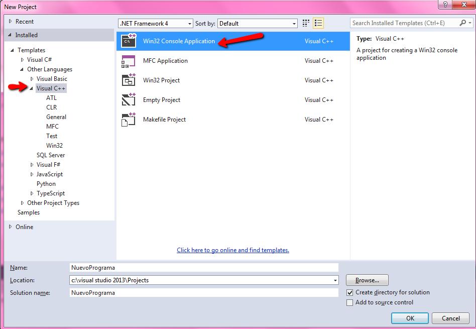Visual Studio pantalla de creación de proyecto