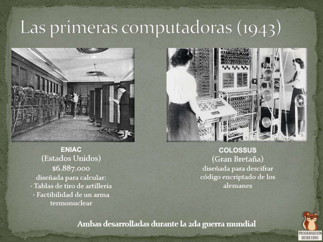 Eniac y Colossus, dos de las primeras computadoras