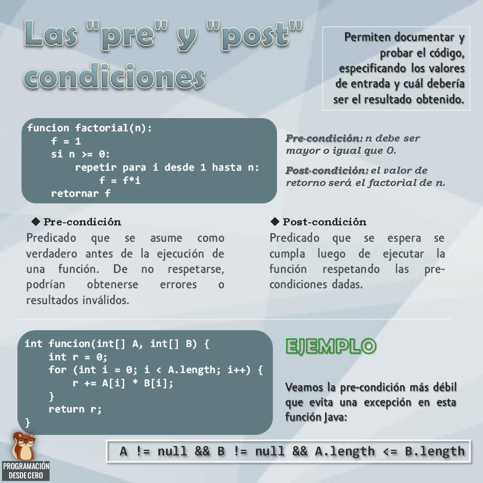 pre y post condiciones para probar código