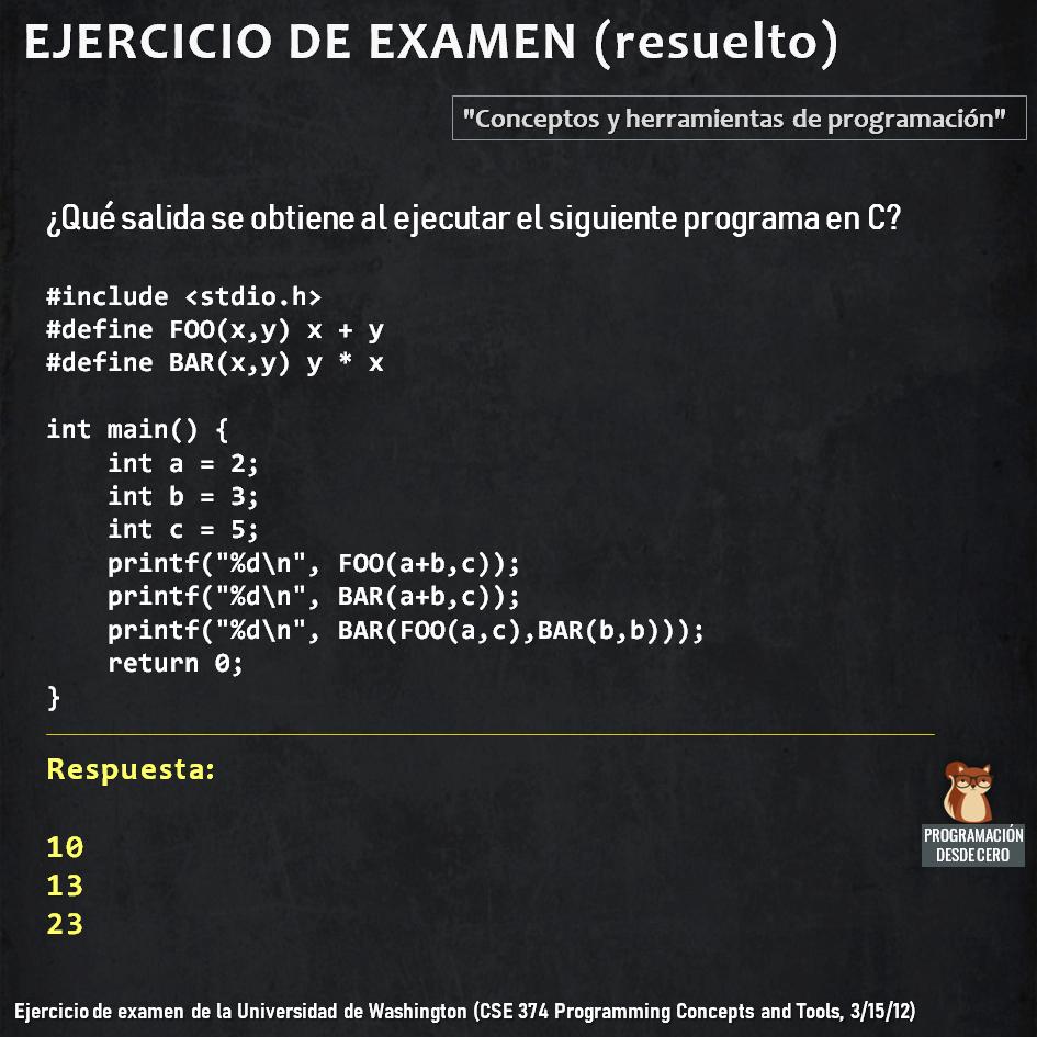 Ejercicio resuelto de programación en C