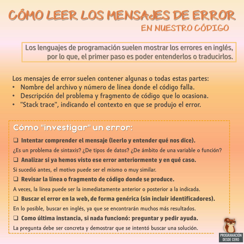 Leer errores en el código